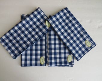 Blue White Gingham Checks Cotton Napkins by Hallie St Mary - Set of 4 - New Unused with Original Tags - Summer Picnic BBQ Cookout
