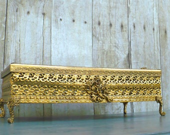 Vintage Gold Footed Pedestal Filigree Tissue Box Holder Roses