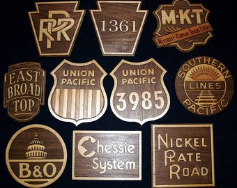 RAILROAD HERALD SIGNS  - Walnut with Maple Inlaid  / Wooden Engraved / Trains