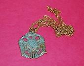 Polish Eagle Necklace Vintage Boho Pendant Retro Chunky Eagle 70s Jewelry