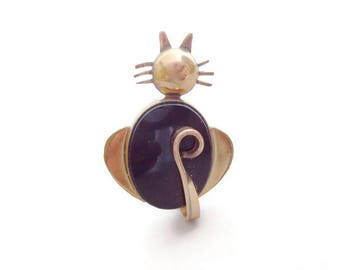 Vintage Cat Brooch Onyx and Gold WRE Richards 1/20 12k GF 1960s