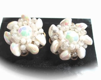 White Iridescent Earrings Glass Signed Robert 1950s Wedding Bridal