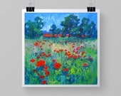 """8 x 8 Art Print from the English Landscape, """"Full Field  of Poppies""""."""