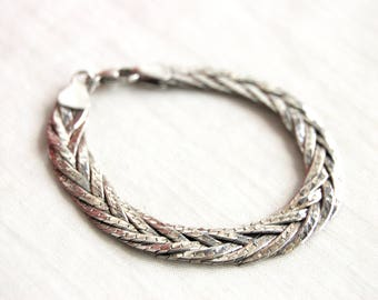 Mexican Herringbone Bracelet Vintage Sterling Silver Chain Woven Braided Everyday Jewelry Size 7 .25