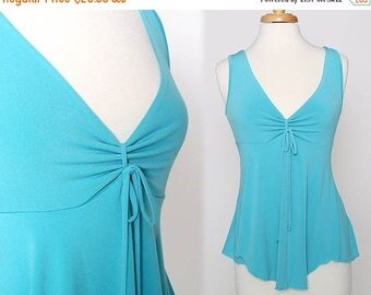 HUGE SALE Vintage 90s Aqua Blue Sleeveless Flowy Top