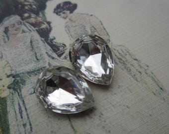 Vintage 18x13 Crystal Pear Or Teardrop Doublet Gems 2Pcs.
