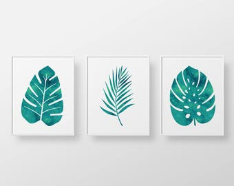 Printable art, watercolor tropical palm leafs, botanical illustration - Set of three teal peacock green prints, Instant download printables