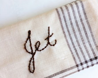 Hand Embroidered Hankie // Custom Embroidery Handkerchief // Brown Plaid Personalized Bandanna LAST ONE!
