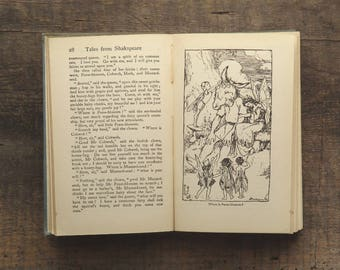 1920s Shakespeare stories by Charles and Mary Lamb Tales from Shakespeare illustrated by Arthur Rackham - spine split