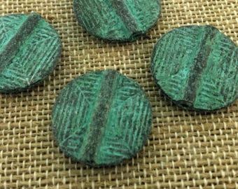 Flat patina beads