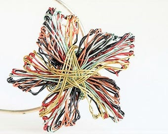 Flower brooch Gold orange Wire wrapped jewelry Cute pin Colorful jewelry Metal flower tiny sculpture Art Modern hippie Birthday gift for her