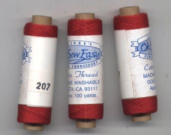 Red #207 Cotton Punch Embroidery Thread - 100-Yard Spool - Clarke's O-Sew-Easy
