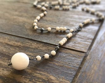 Jade Necklace - White Gemstone Jewelry - Long Rosary - Oxidized Sterling Silver Chain Jewellery - Beaded - Fashion