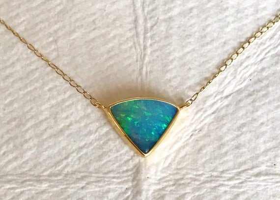 Boulder opal and solid 18k gold necklace