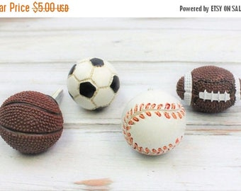 SALE Sports Drawer Knobs, Baseball Knob, Basketball Knob, Football Knob, Soccer Knob, Drawer Pulls, Sports Theme Decor, Cabinet Knobs