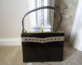 Vintage Brown Faux Patent Leather Clarks Handbag