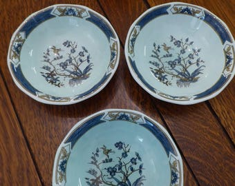 "Adams Calyx Ware Ming Toi Wedgwood Group THREE Cereal Bowls 6.25"", Vintage Ming Toi Adams English Ironstone 3 Cereal Bowls Agua Blue (ØB)"