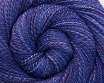 Handspun Yarn DK weight - JEALOUSY - Handpainted 85/15 Polwarth/Tussah silk, 316 yards, purple handspun, knitting yarn, gift for knitter