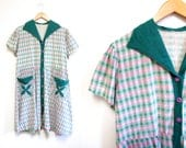 Vintage 1940s Dress   Pink and Green Checkered Print 1940s Day Dress   size large - xl