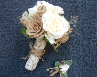 Rustic Wedding Ivory Roses Tan Burlap Rose Lace Bridal Bouquet Artificial fabric or Burlap Flowers Western or Country Shabby Chic Vintage