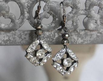 Rhinestone earrings vintage rhinestone earrings bridal earrings bridal jewelry assemblage jewelry F619-by French Feather Designs.
