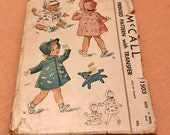 McCall Toddler Coat and Bonnet Pattern Size 6 mos, Vintage Sewing Pattern, Vintage McCall, Toddler Bonnet, Baby Coat, Baby jacket