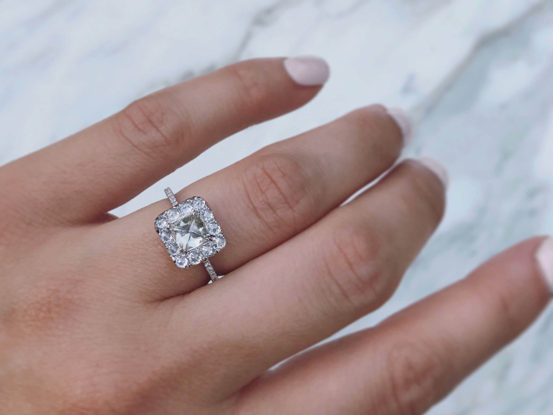 Raw Diamond Halo Engagement Ring