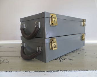 Metal Storage Box with Leather Handle Wright and Company Industrial Storage Office Lock Box