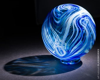 Hand Blown Glass Float with Blue and Green Swirls