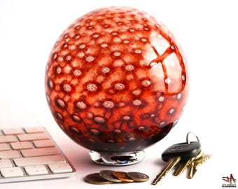 Hand Blown Glass Float - Dark Ruby Red with Bubbles