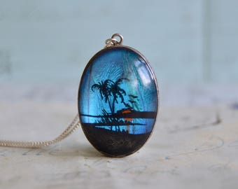 Butterfly Wing Painted Pendant Necklace