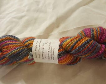 """Soft luxurious Pacormo alpaca, cormo, sparkle yarn, worsted weight purple, gold, orange, pink and blue """"skittles"""" 200yds"""