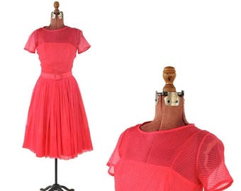 ON SALE Vintage 1960's L'aiglon Sheer Hot Pink Chiffon Illusion Cocktail Mod Full Skirt Party Dress S