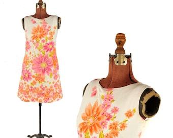 Vintage 1960's Pink Graphic Floral Print Cotton Shift Sleeveless Pocket Dress S