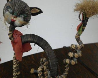 vintage retro straw toy cat
