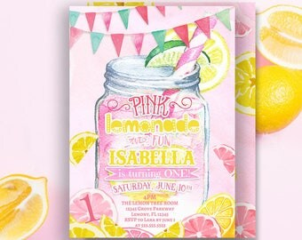 Pink Lemonade Invitation- Lemonade Invitation- Birthday Invitation- Lemonade Stand Invitation- Lemonade Party- First birthday- Printable 5x7