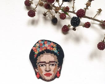 Lovely Frida Kahlo Brooch Bead Woven Flowers Unique Piece