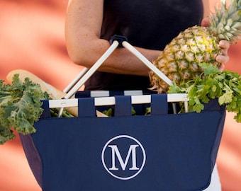 Monogrammed Navy Market Tote, Navy Market Basket, Shopping Tote, Navy Tailgating Basket, Navy Picnic Basket, Collapsible Car Tote