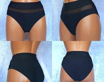 High waisted bikini 90s bikini bottoms Black mesh bikini bottom Mesh Swimwear Sexy bikini bottoms