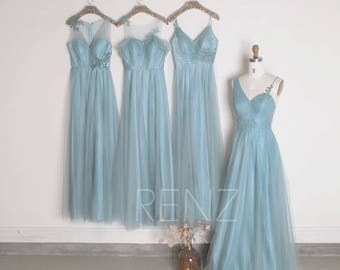 Dusty Blue Tulle Mix Match Bridesmaid Dress,Ruched Bodice Wedding Dress,A Line Prom Dress,Formal Dress Full Length(HS455/HS452/HS451/HS453)