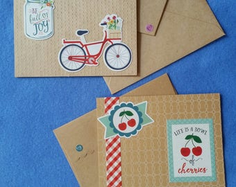 Two Handmade Greeting Cards, Life is a Bowl of Cherries and Be Full of Joy - Recycled Kraft Paper Cards