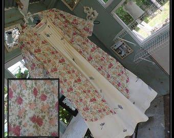 Free Domestic Shipping-BARBARAOne size,Boho Robe,Chiffon,Shawl,Boho Kimono,Bed Jacket,3/4 length sleeve,floral print.Nightgown not included.