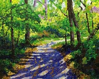 "Original Impressionist style Impasto Acrylic Painting ""Autumn Path"" 16x20"