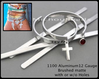 """STAMPING Blanks - 1100 Aluminum 12 Gauge 1/4"""" Wide 6"""" Long MATTE with or w/o HOLES to Add Your Charms - Hand stamped Cuff Bracelet Jewelry"""