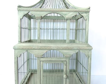 Victorian Style Wood and Metal Green Birdcage Birdhouse