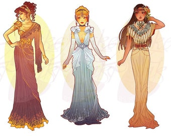 Full Set 6 Princesses Mucha Style CROSS STITCH PATTERNS Megara, Cinderella, Pocahontas, Original Art by Hannah Alexander