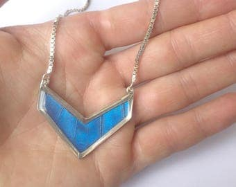 Butterfly Wing Necklace Pendant Jewelry - Chevron, Butterflies, Unique, Colorful, Nature Art, Blue Butterfly