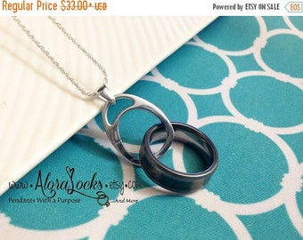 SUMMER SALE Pre-order AloraLocks THE Original Unisex Wedding Ring / Band Holding Pendant Solid Sterling Silver Wide Oval