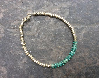 CLEARANCE Apatite beaded gemstone stacking bracelet with Sterling Silver Clasp and faceted Silver Beads Boho Minimalist bracelet