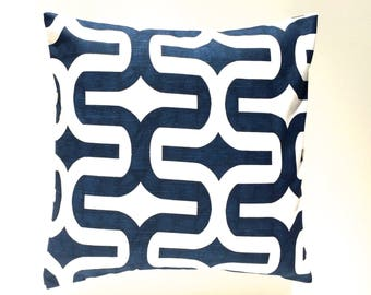 CLEARANCE 50% OFF Premier Navy Embrace Pillow Cover. 16x16. Blue and White Decorative Cushion Cover